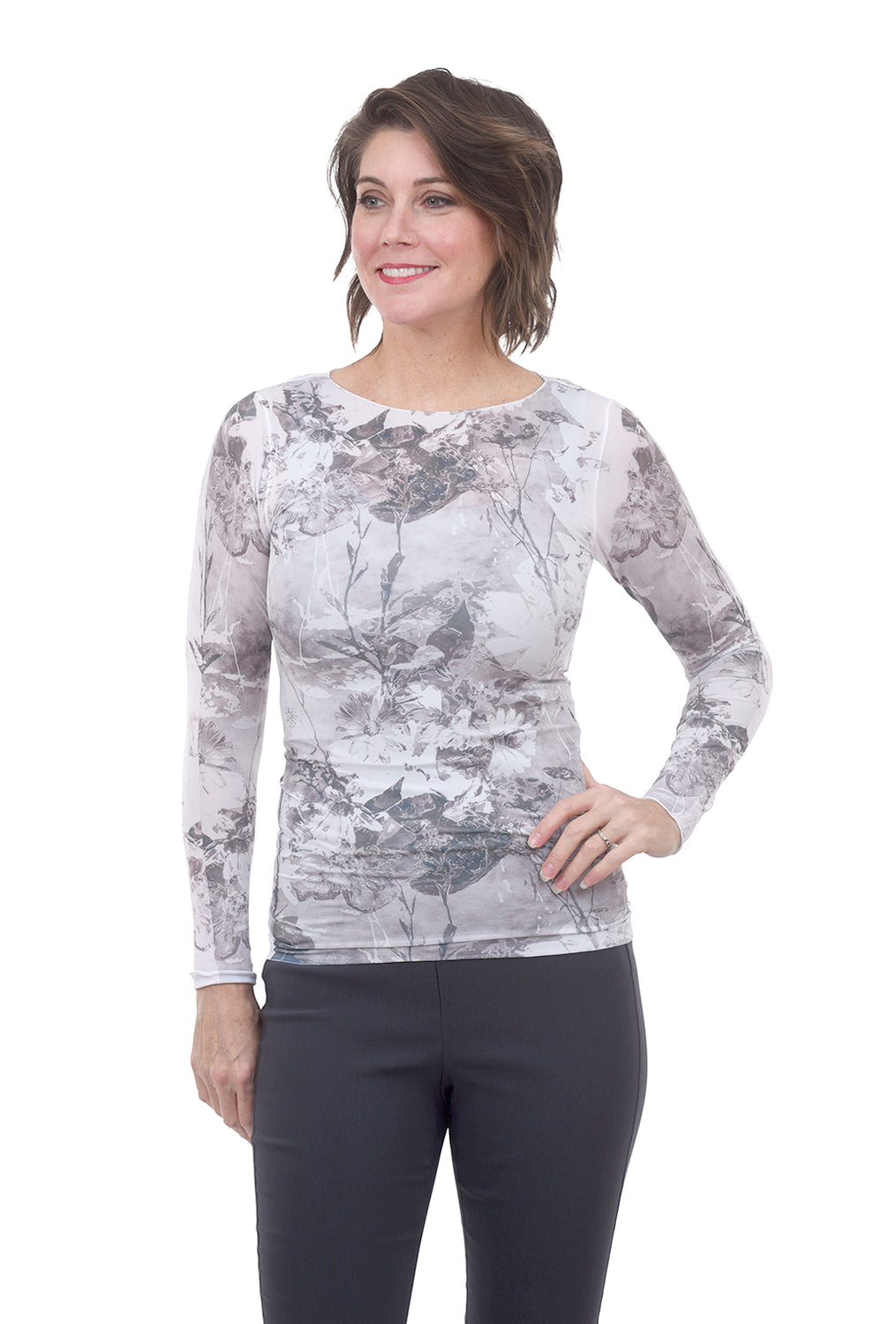 AMB Designs Raw-Edge Layer Top, Flora White One Size White