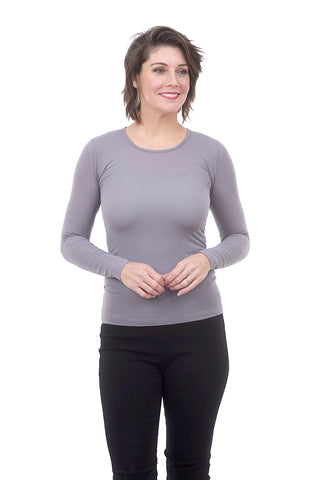 AMB Designs L/S Layer Top, Steel Gray One Size Gray