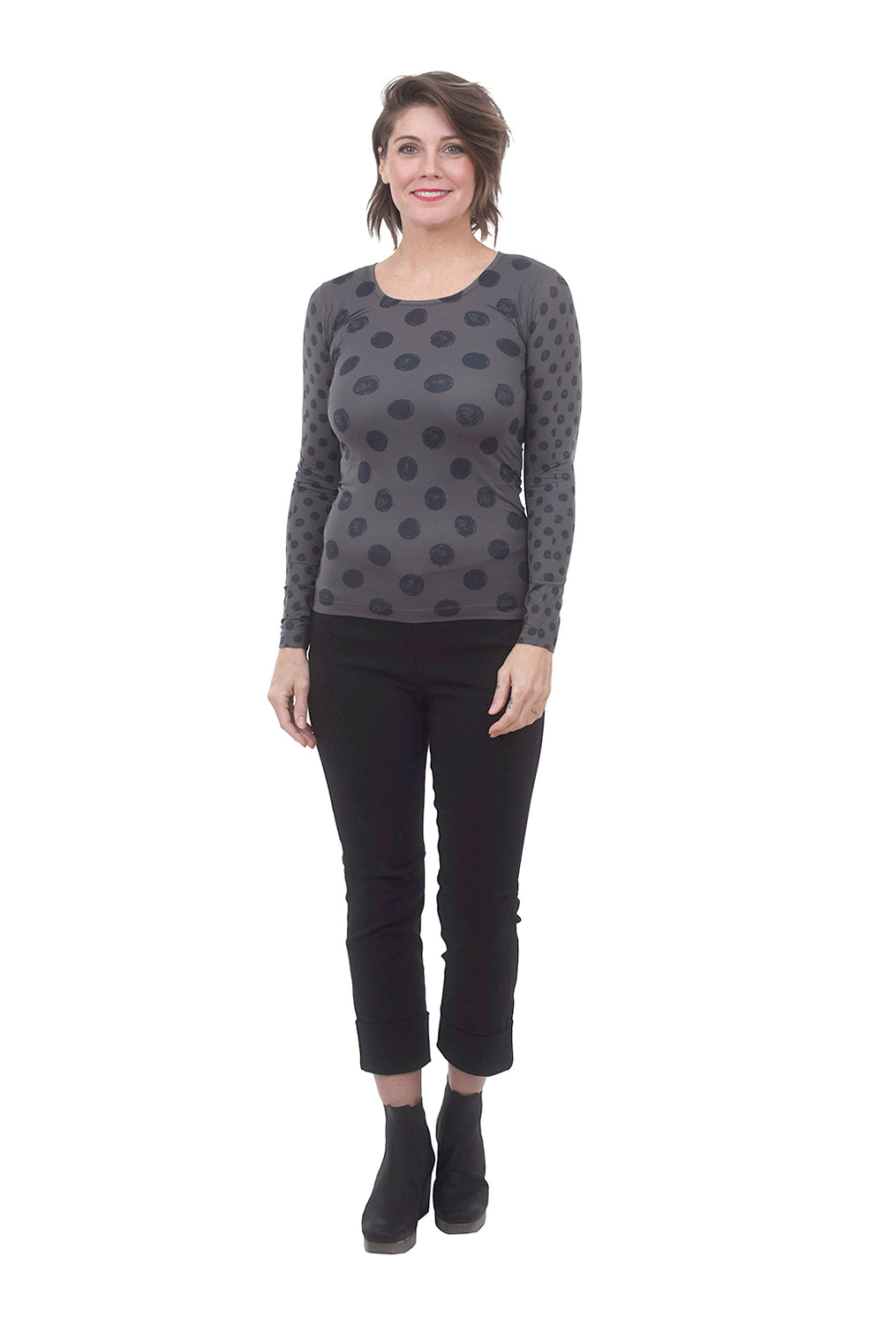 AMB Designs Crew Neck Layer Top, Black Pearl Dot One Size Black Pearl