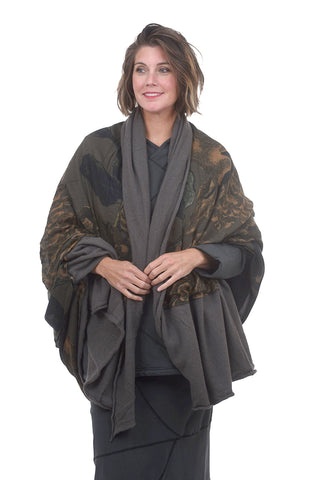 Rundholz Collection Cashmere-Modal Art Shawl, Gray One Size Gray
