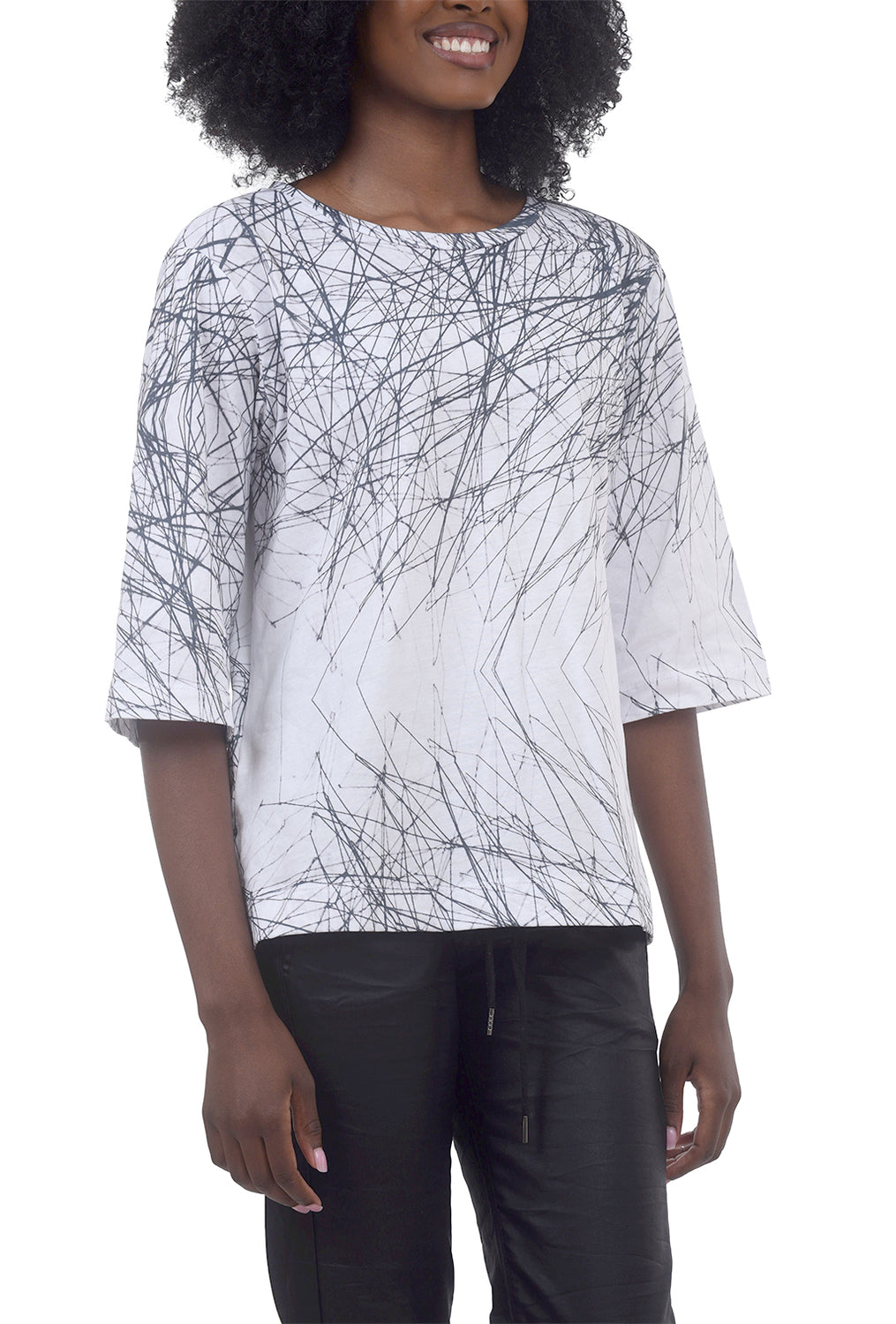 T/9 Branches Boat Neck Tee, Ivory/Black