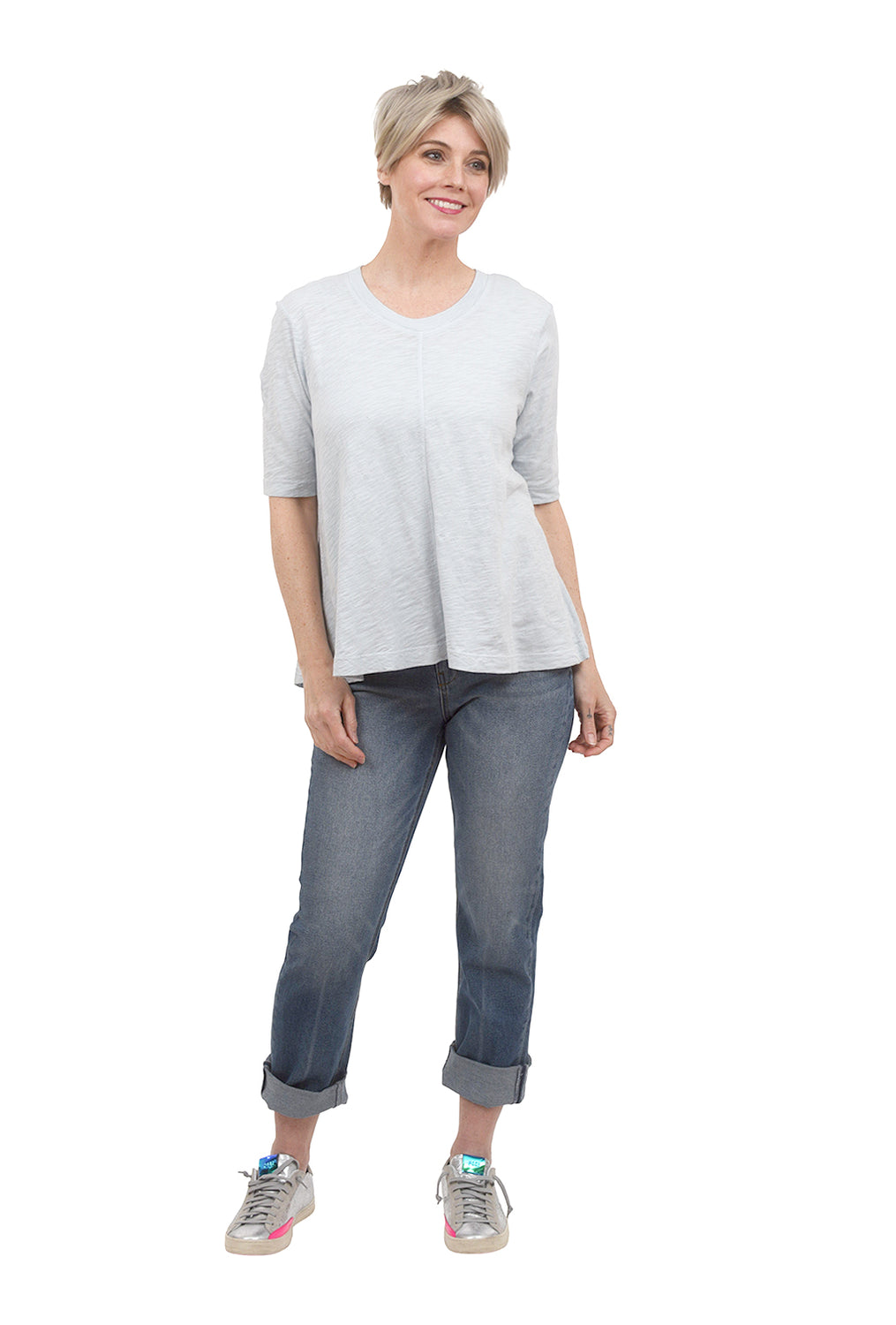 Wilt Elbow-Sleeve Trapeze Tee, Baby Blue