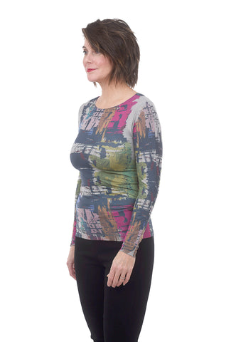 AMB Designs Raw-Edge Layer Top, Brush Gray One Size Gray