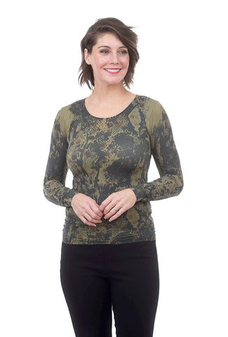 AMB Designs Crew Neck Layer Top, Kenya Olive One Size Olive