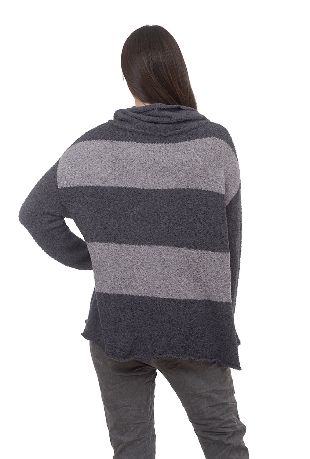 Hello Nite Plush Stripe Loose Pullover, Gray/Charcoal