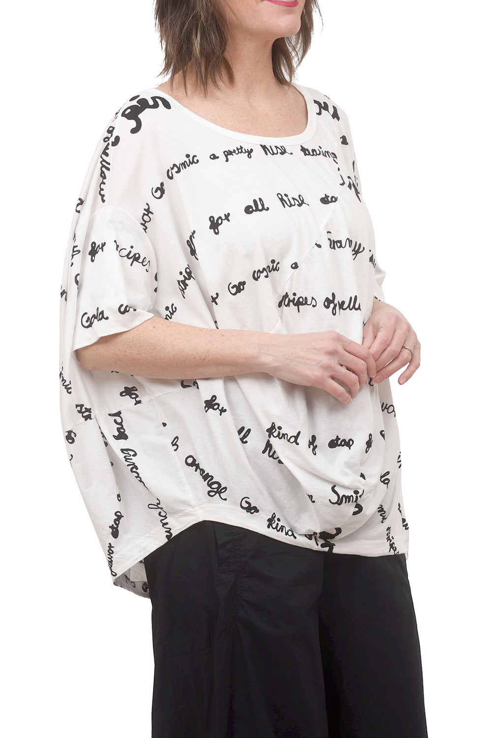 Rundholz Black Label Type Attack Drape Tee, Off-White/Black