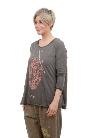 Magnolia Pearl L/S Dylan Tee, Full Heart/Lovestruck One Size Gray