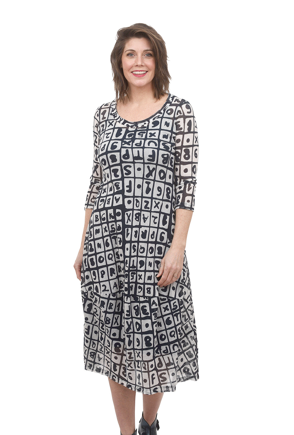 Rundholz Black Label Mesh Print Lantern Dress, Plum Print