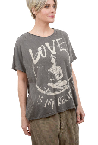 Magnolia Pearl New Boyfriend Tee, Love Religion/Ozzy One Size Gray