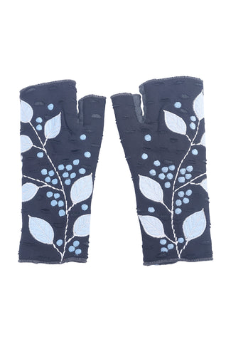 Rising Tide Folia Fingerless Gloves, Night One Size Night