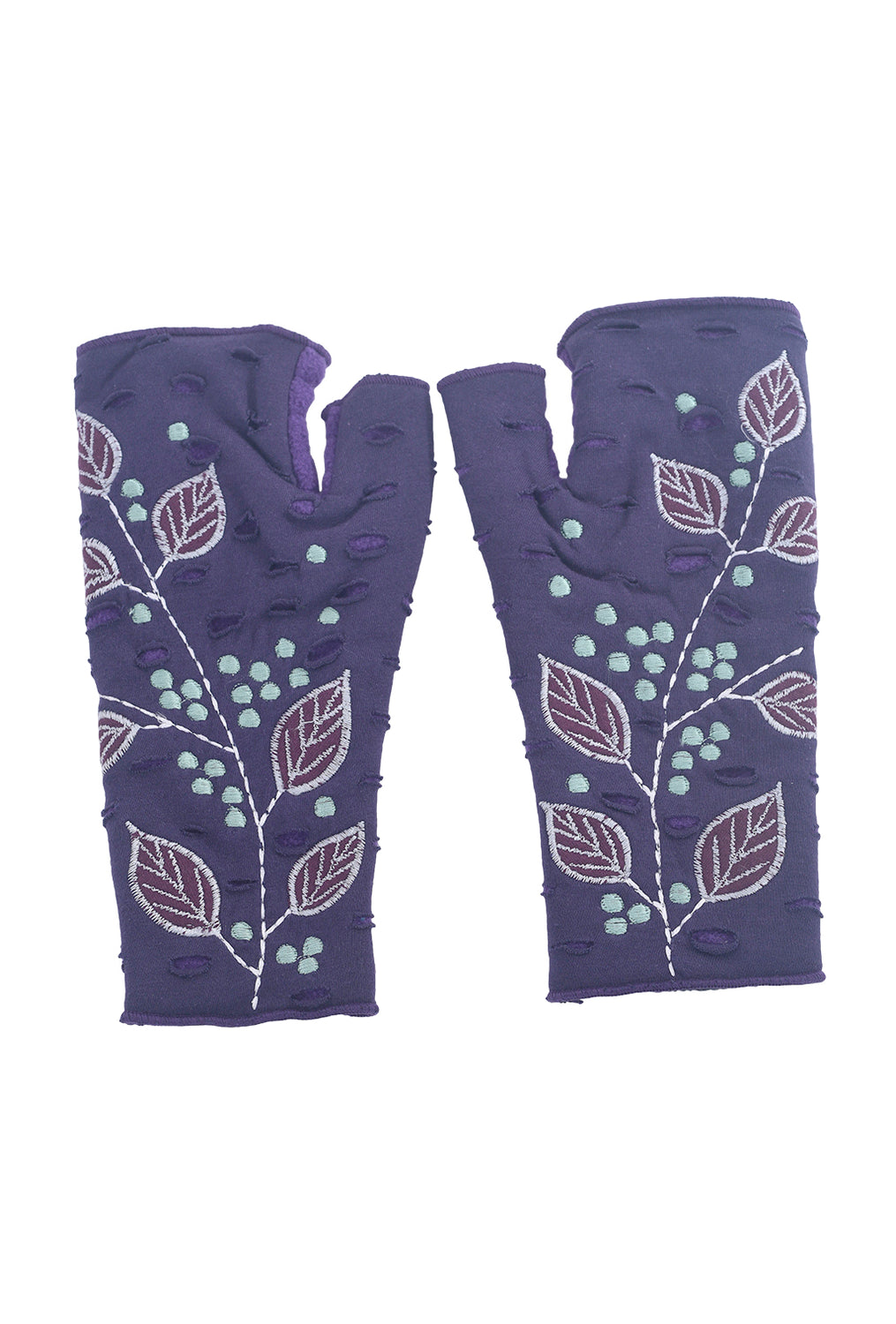 Rising Tide Folia Fingerless Gloves, Amethyst One Size Amethyst