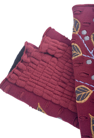 Rising Tide Folia Fingerless Gloves, Crimson One Size Crimson