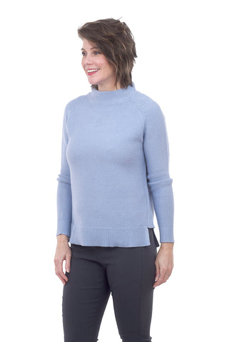 Kinross Cashmere Garter Stitch Pullover, Seaside Blue