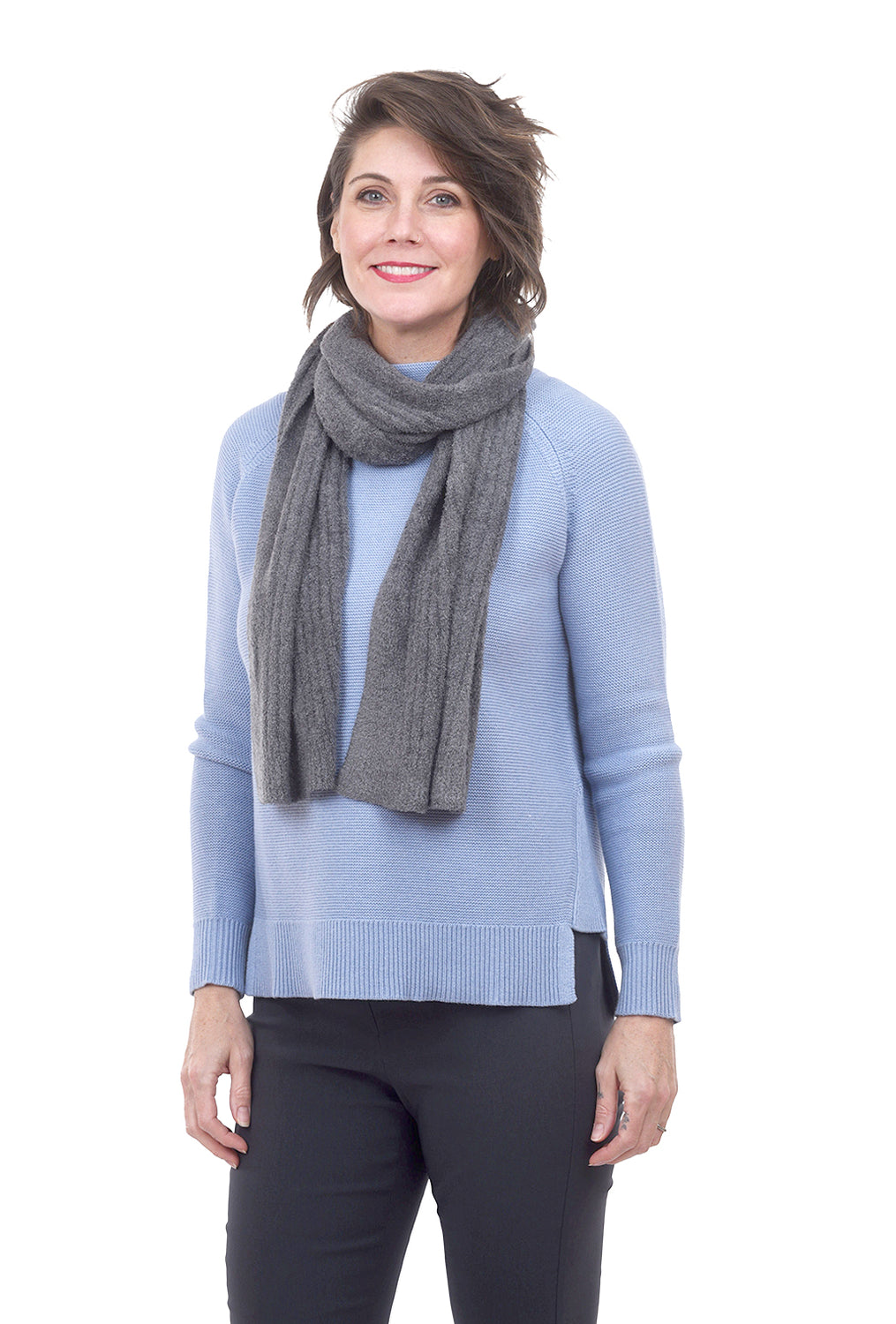 Barefoot Dreams CCL Heather Ribbed Scarf, Graphite One Size Graphite