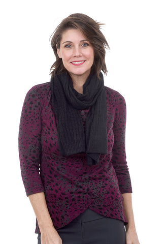 CCL Heather Ribbed Scarf, Black