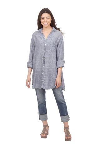 CP Shades Linen Chambray Marella Shirt, Blue