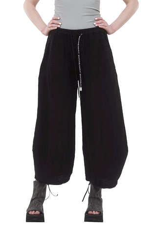 Rundholz Black Label Linen Lantern Drawstring Pant, Black