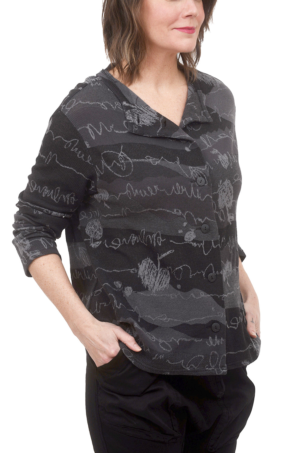 Ji-U Shaped Swazer Cardie, Charcoal One Size Charcoal