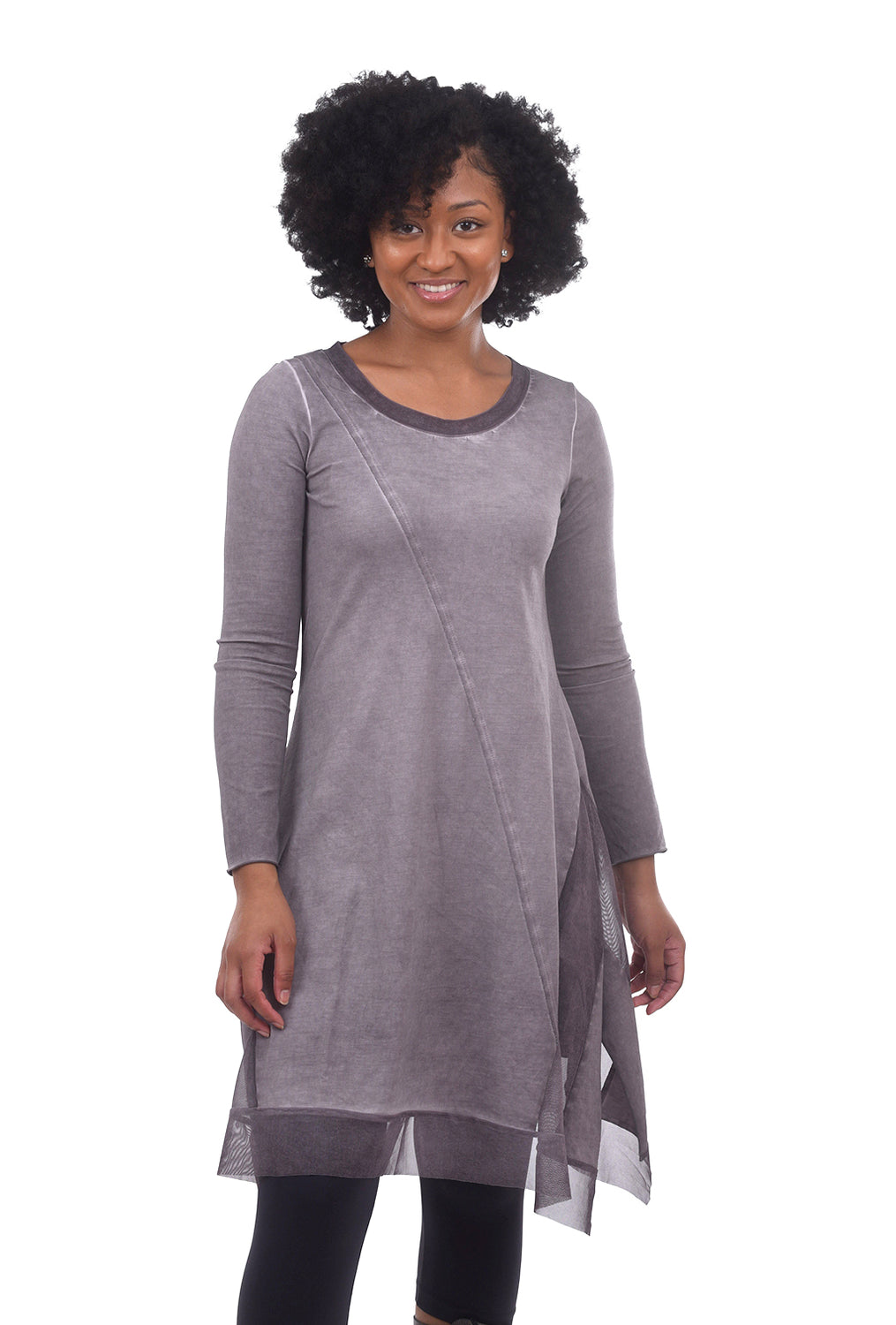Luukaa Mesh Trim Garment-Dye Dress, Light Plum
