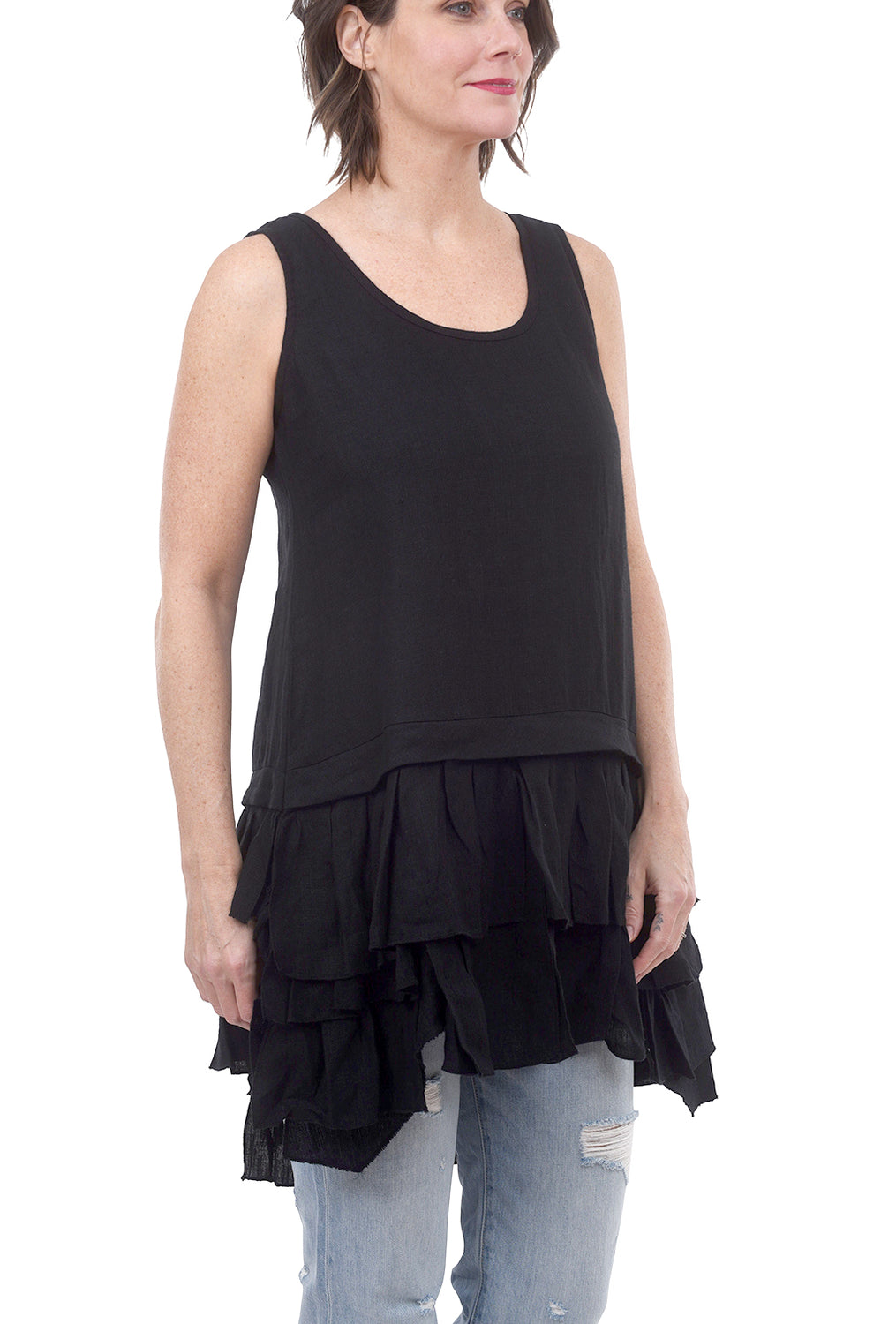 Tulip Kelly Linen Mix Tunic, Black