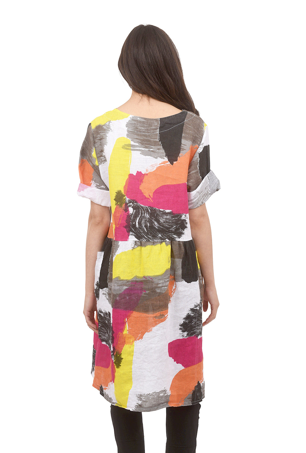 Bella Amore Watercolor Palette Dress, White