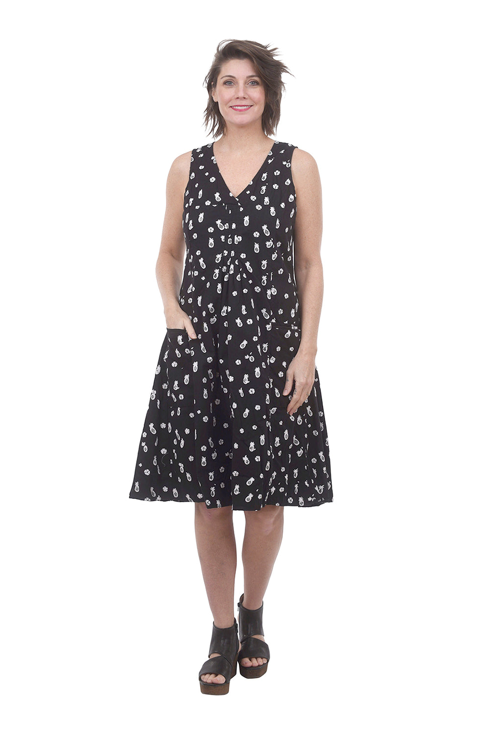 Tulip Poppie Dress, Black Pineapple