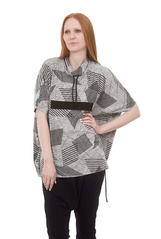 My Soul Jacquard Knit Poncho Top, Gray