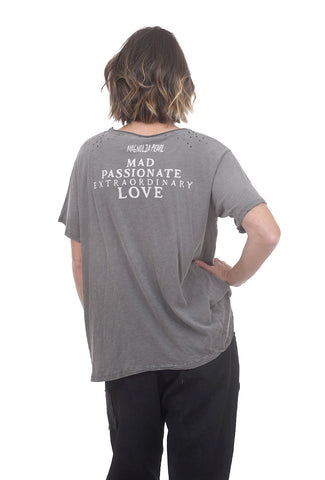 Magnolia Pearl New Boyfriend Tee, Ozzy Gray Heart One Size Gray