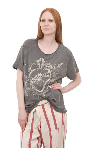 Magnolia Pearl New Boyfriend Tee, Sovereign Heart/Ozzy One Size Ozzy