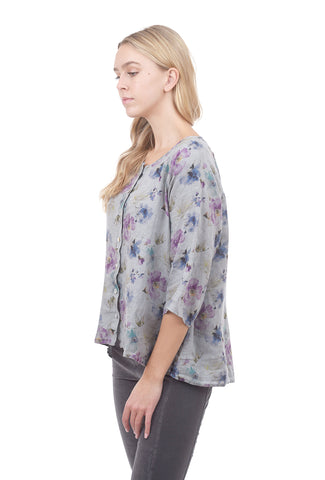 Cut Loose Summer Breeze Collarless Top, Overcast Gray
