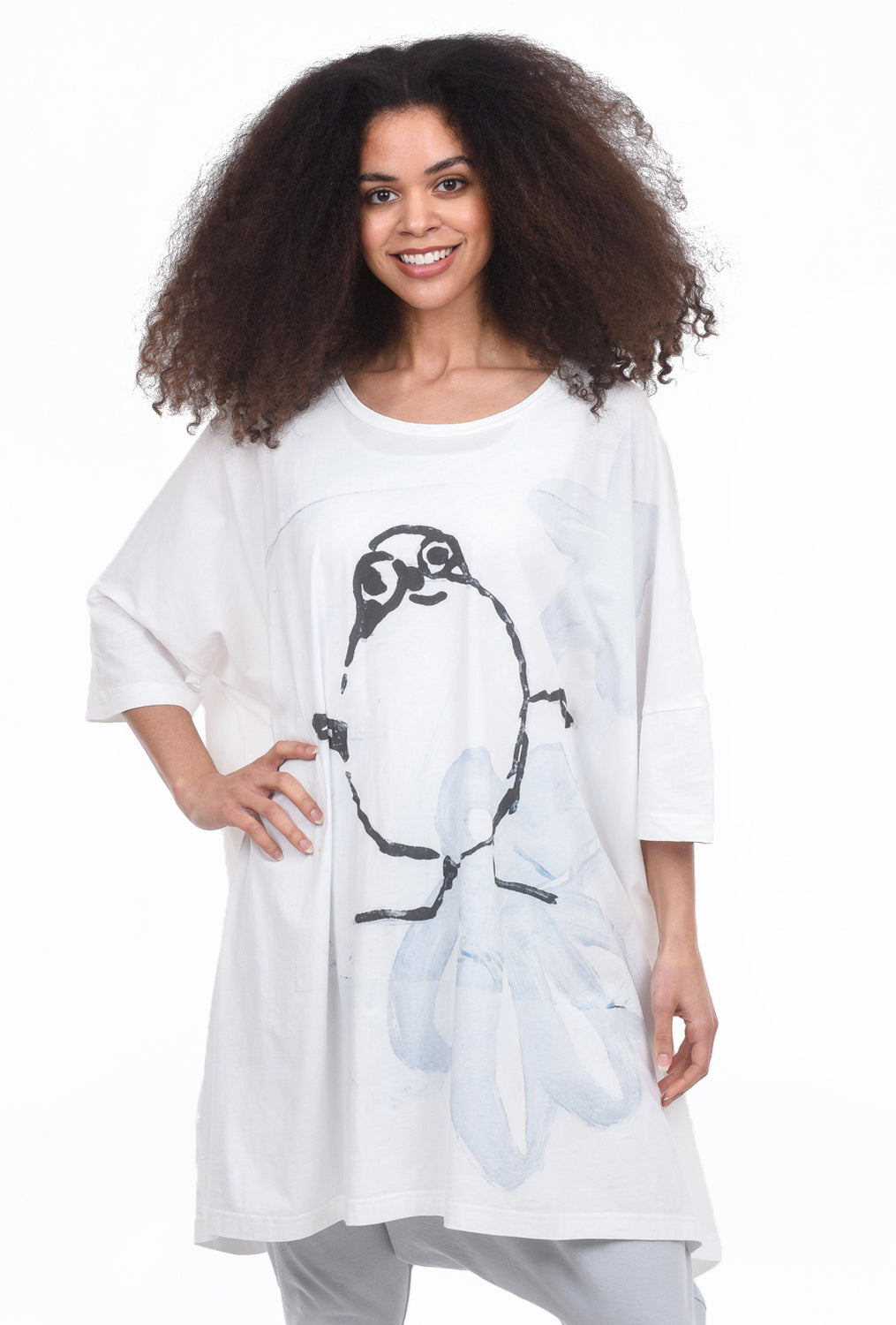 Rundholz Black Label Puffin Print Tunic, White/Gray One Size White