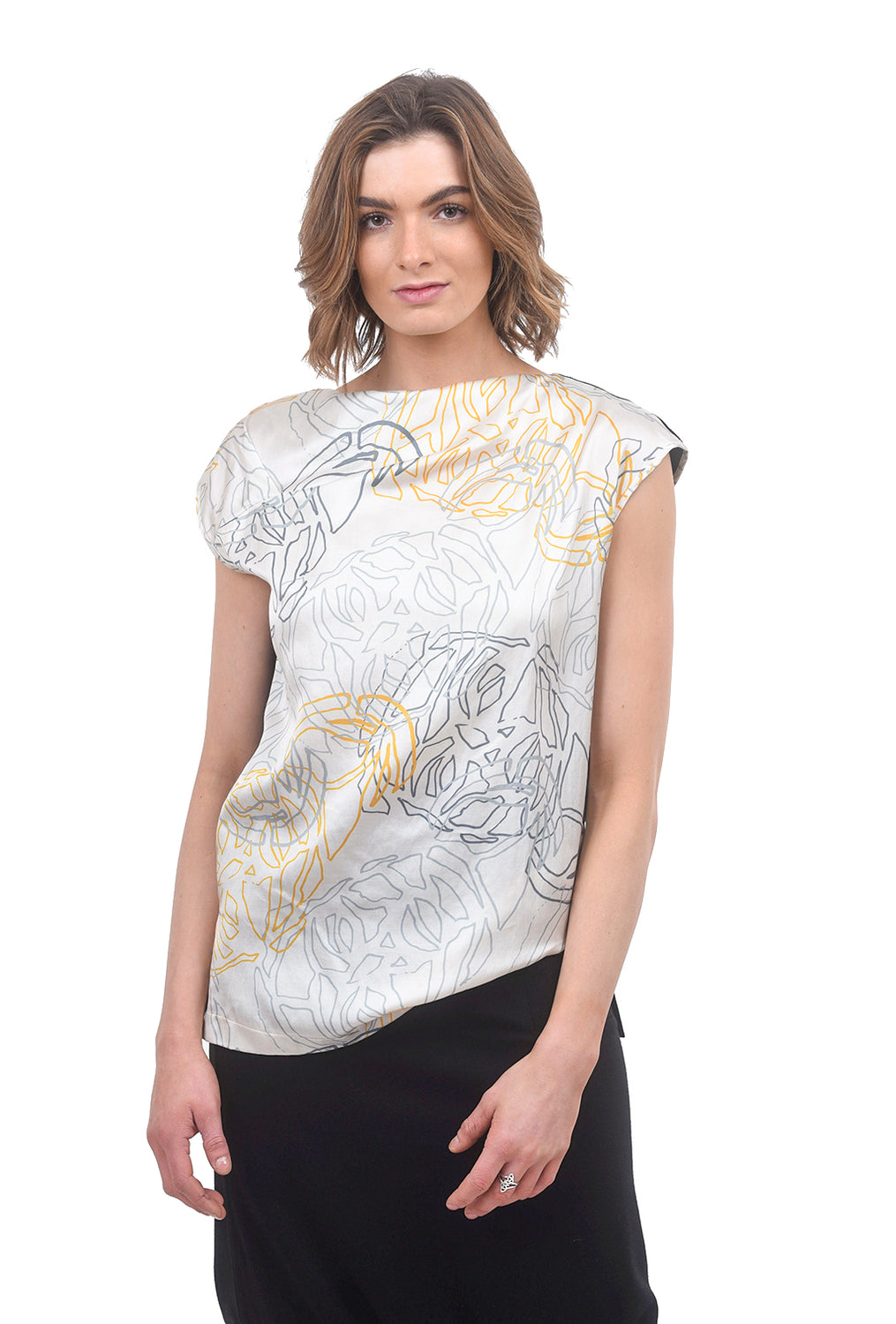 a.oei studio Draped Neck Print Top, Cream/Print