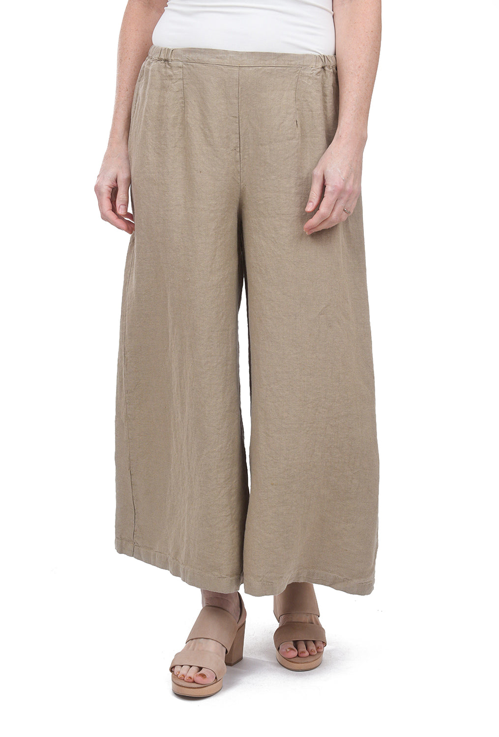 Cut Loose Heavy Linen Wide-Leg Ankle Pant, Jute