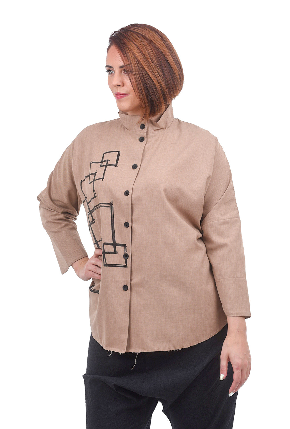 M Square Circular Fragment Shirt Jacket, Beige One Size Beige