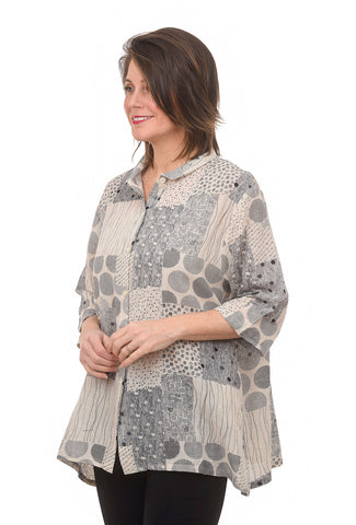 Mao Mam Neutral Dot Button Shirt, Natural One Size Natural
