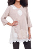 Paper Lace V-Neck Crochet Detail Tunic, Natural