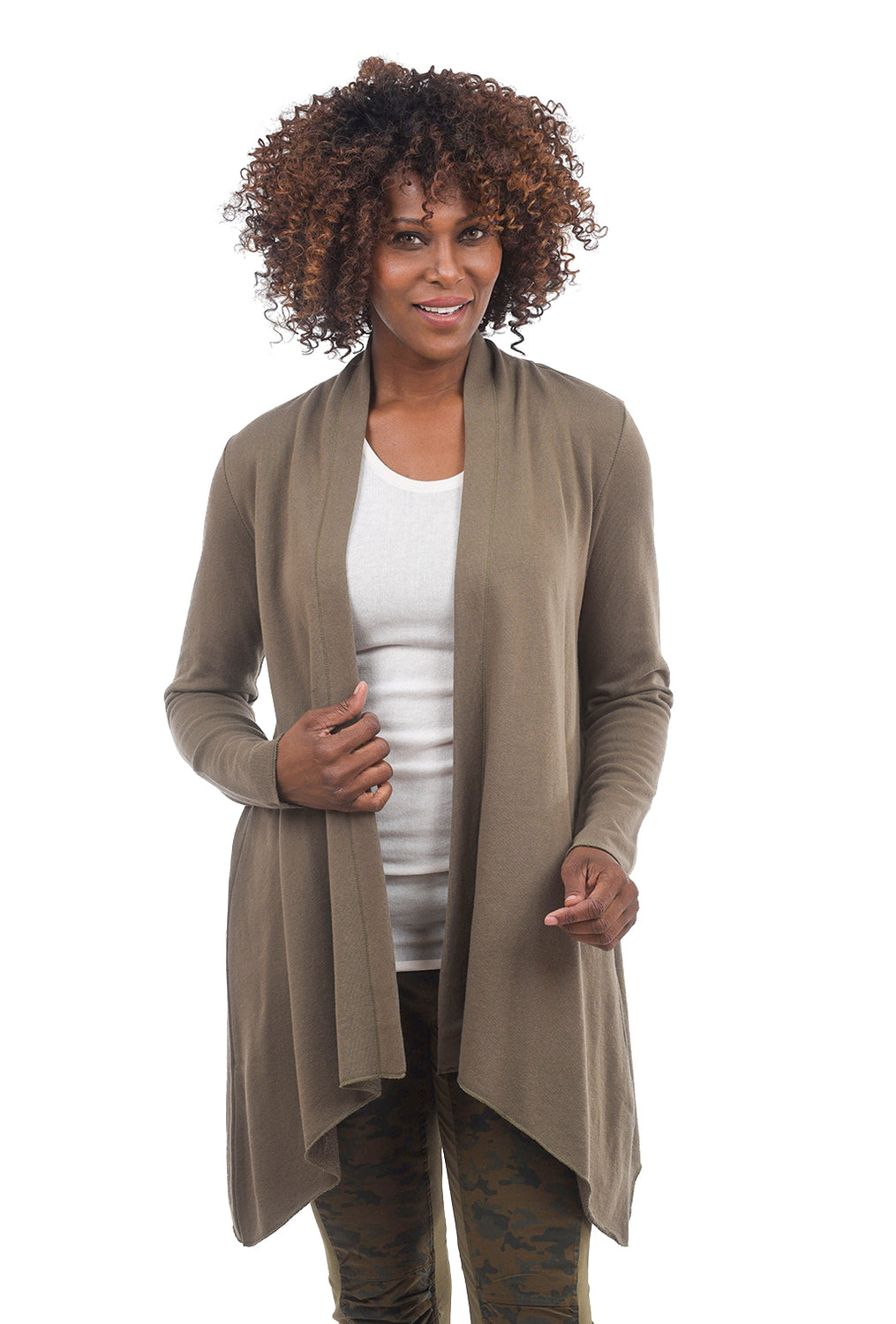 ec887dde7e6 Draped FT Cardigan, Military