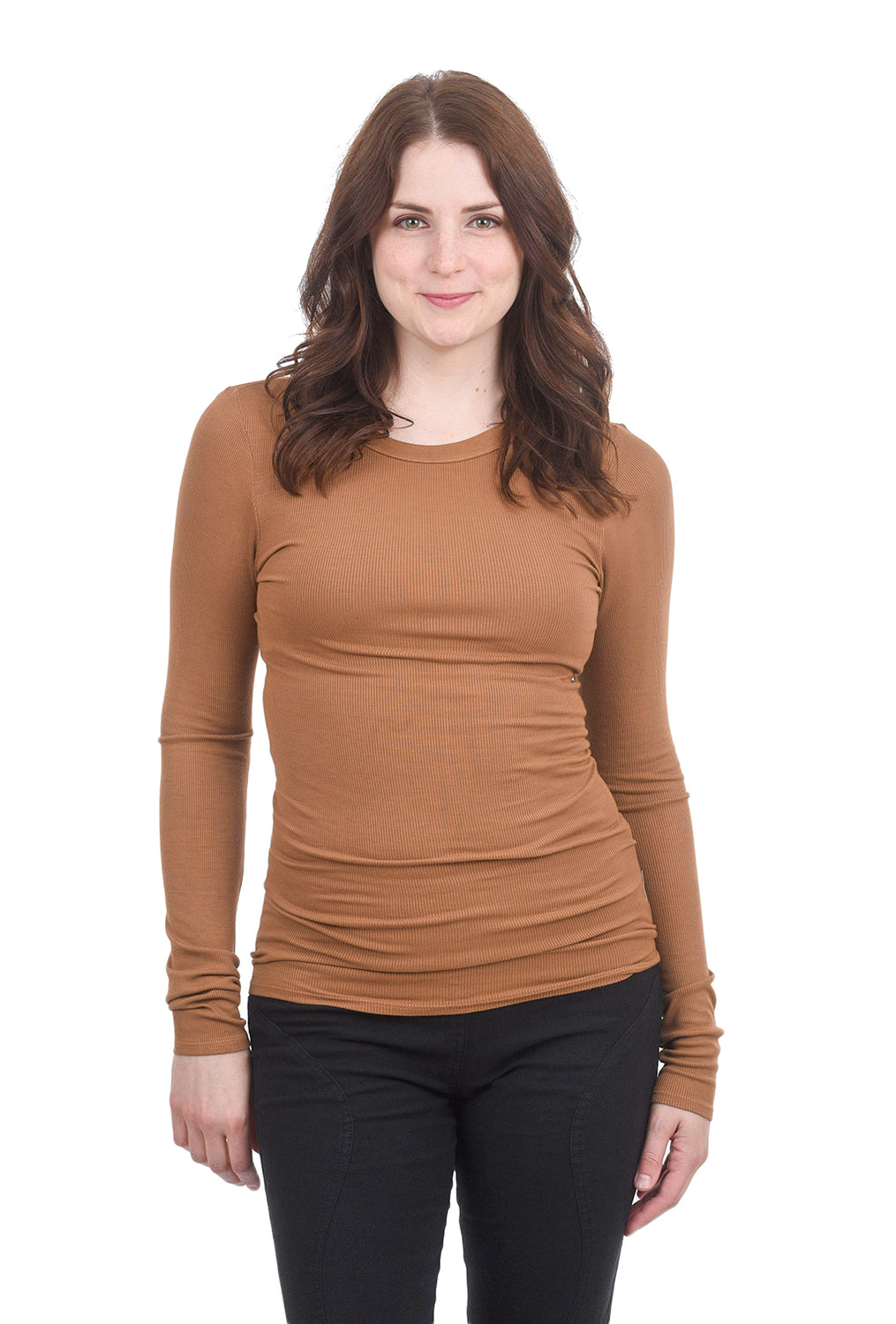 Enza Costa Rib Fitted Crew Tee, Danish Brown