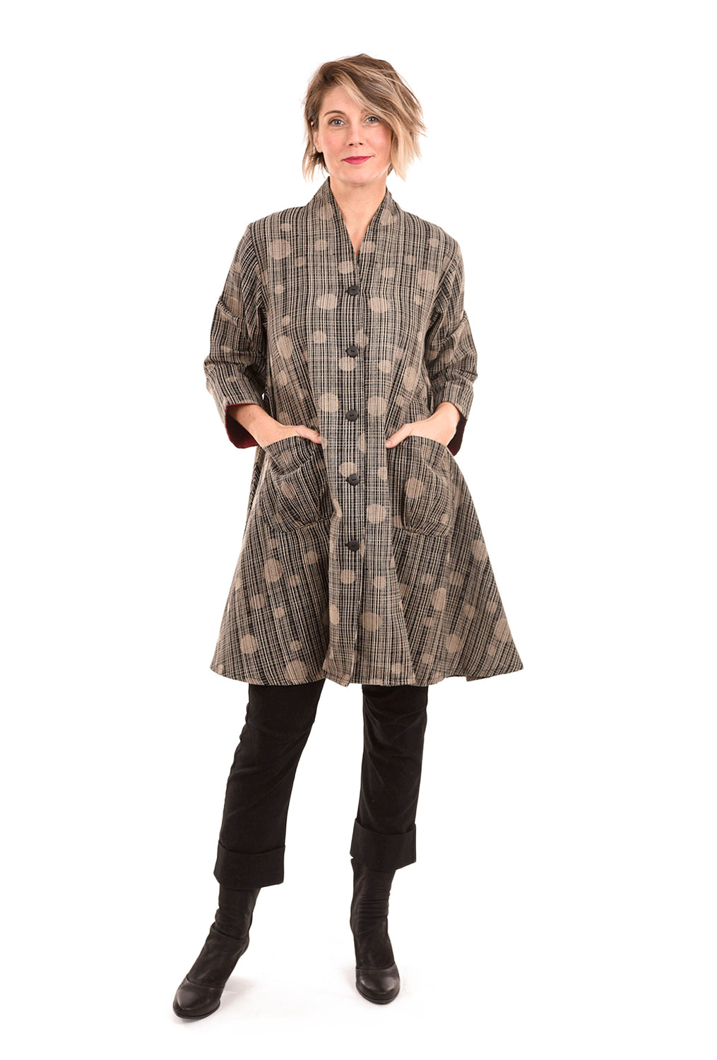 Mao Mam Mao Mam Roll Collar Coat, Black/Tan One Size Black