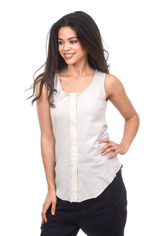 Luukaa Rita Button-Trim Tank, Stone