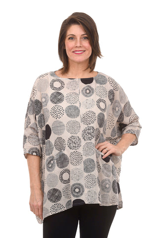 Mao Mam Botanical Dot Print Pullover, Natural One Size Natural