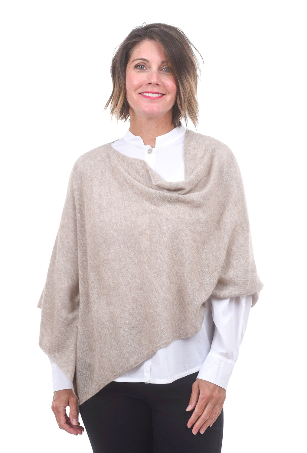In Cashmere Cashmere Ruana, Heather Taupe One Size Taupe
