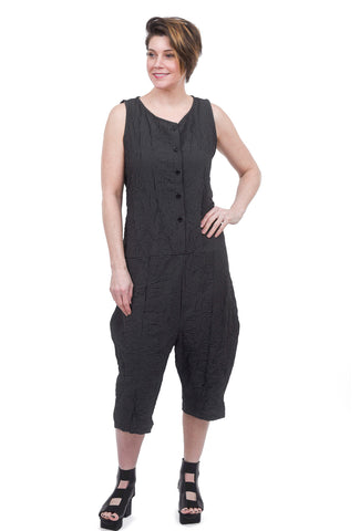 Amma Tie-Waist Plaid Jumpsuit, Black