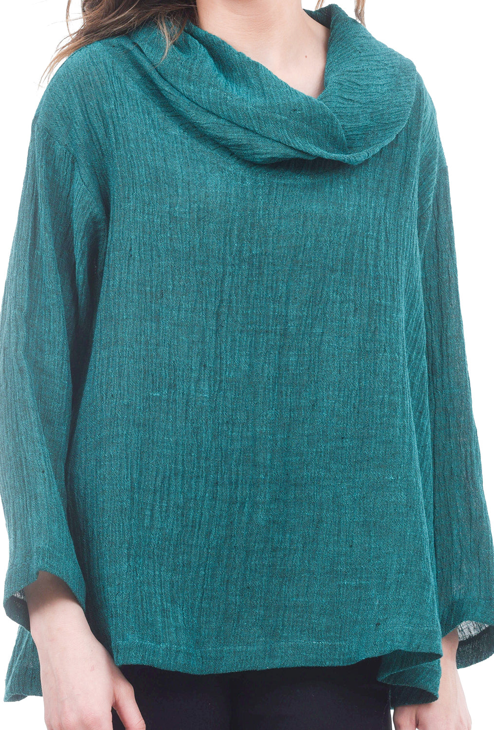 M Square Textured Crop Cowl Top, Emerald Green One Size Green
