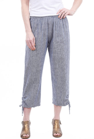 Fenini Chambray Tie Crop Pants, Blue