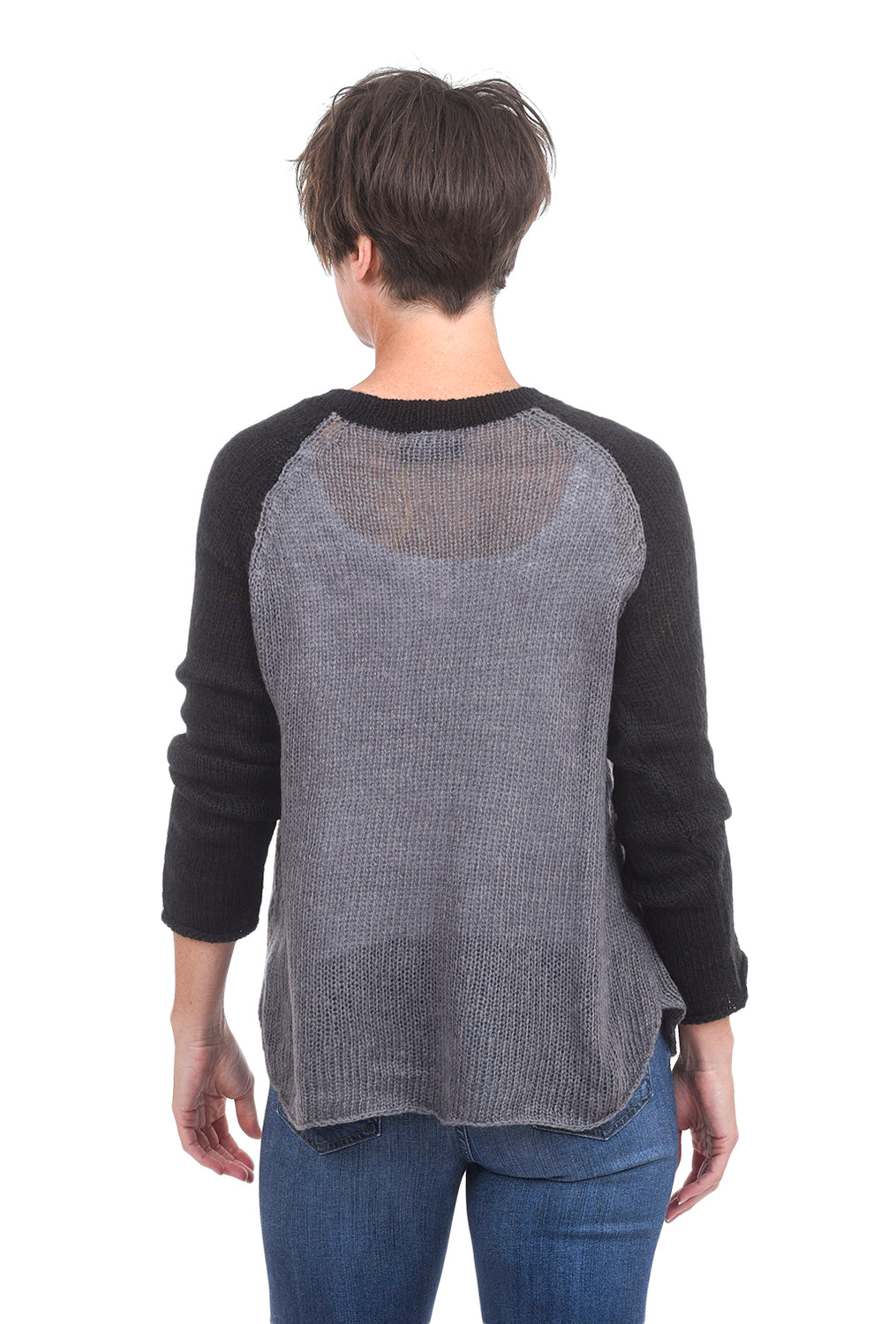 Wooden Ships Tomboy Raglan Sweater, Black/Gunmetal