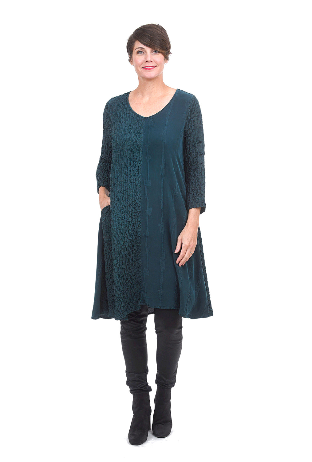 Grizas Crinkle Mix Dress, Dark Teal