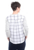 Current Air Woven Plaid Back Sweater, Gray/White
