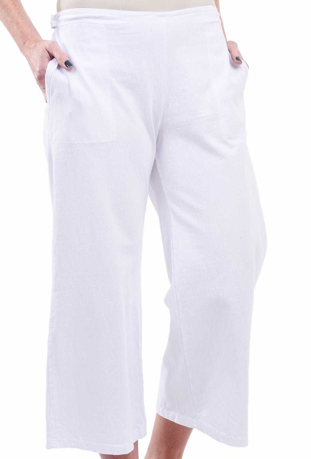 Fenini Flat Front Crop Pants, White