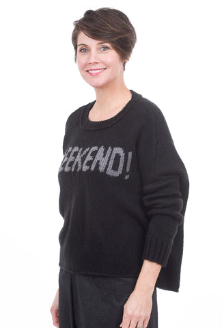 Wooden Ships Weekend Slouchy Sweater, Black
